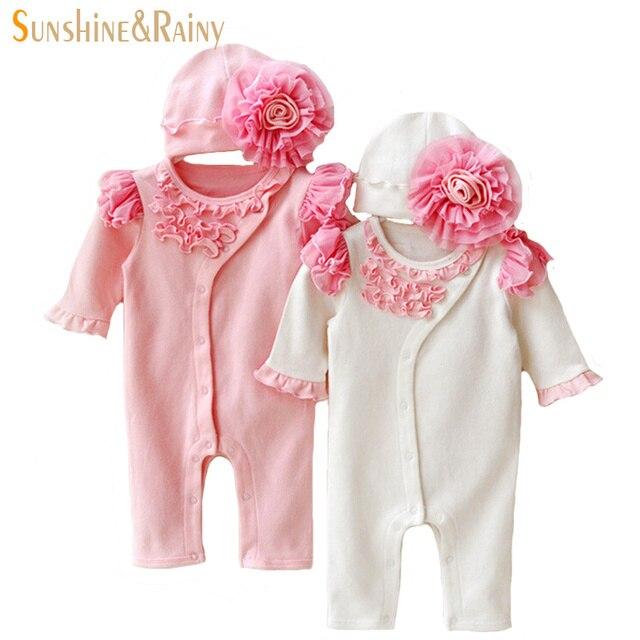 Новорожденный комплектов одежды девочка одежды рождения детей платье девушки кружевные цветок комбинезон шляпы принцесса bebe комбинезон подарки