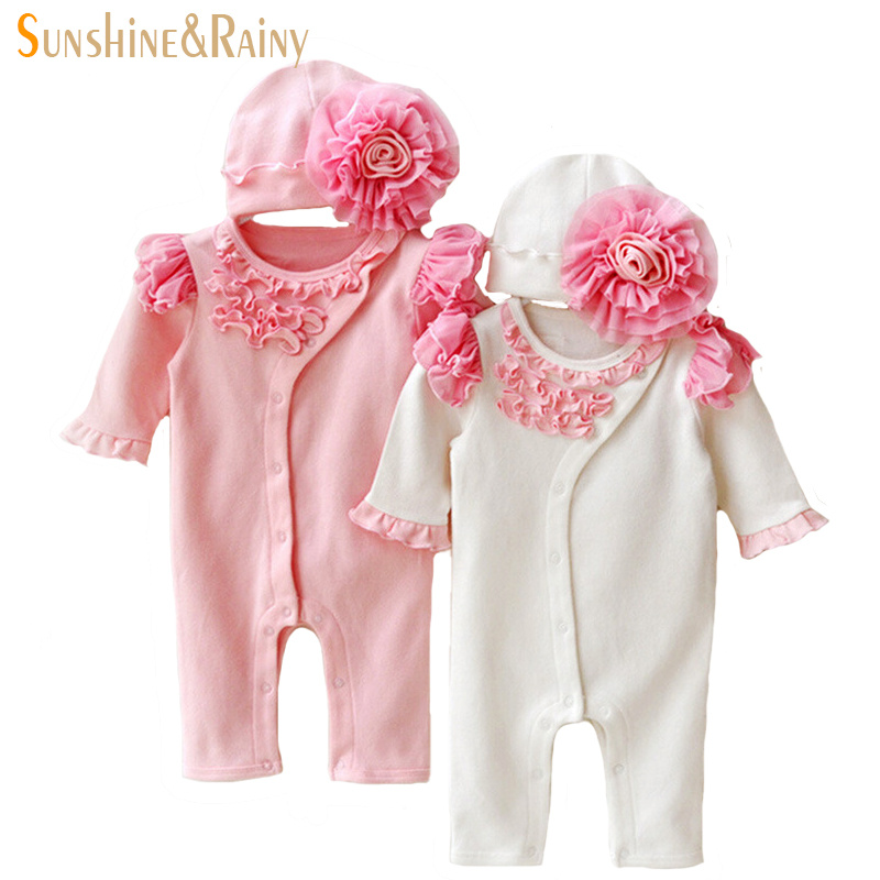 Newborn Clothing Sets Baby Girl Clothes Kids Birthday Dress Girls Lace Flower Rompers+Hats Princess Infant bebe Jumpsuit Gifts cotton baby rompers infant toddler jumpsuit lace collar short sleeve baby girl clothing newborn bebe overall clothes