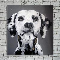 100% Hand Painted Modern Wall Art Pictures Living Room Home Decor Abstract Black White Dog Animal Oil Painting On Canvas