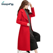 Women's Brand 2017 New Winter Coat Plus Cotton Long Woolen Jacket Suit Collar British Temperament Kneeling Red Wool Coat  WM449