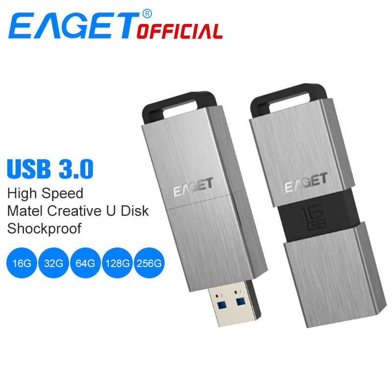 EAGET USB Flash Drive 32GB Pen Drive 64GB Metal Mini USB 3.0 Flash Disk 16GB 128GB 256GB Memory Pendrive External Storage Stick