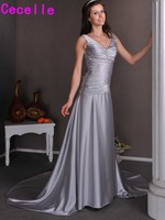 Sexy Simple Long Silver Grey Informal Reception Wedding Dresses Bridal Gowns V Neck Corset Back Second