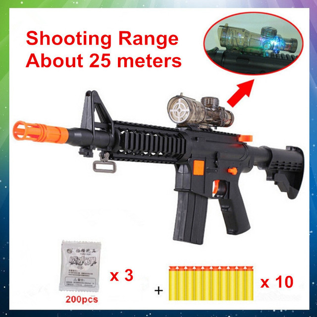 Nerf Toy Guns Water-Absorbed Painball And EVA Soft Bullets Gun Flash AK  Outdoor Toys