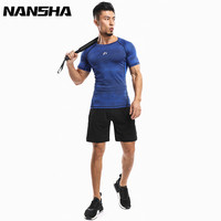 NANSHA Men Compression Basis Kurzarm T-shirts 3D Drucken Hot Bottom MMA Rashguard Strumpfhosen Fitness Sportswear herren Sets