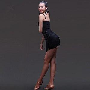 Image 3 - ¡Novedad de 2019! Falda de baile latino para mujer, borla negra, estilo latino, vestido de competencia de baile/practicar Ropa de baile, faldas S 2XL