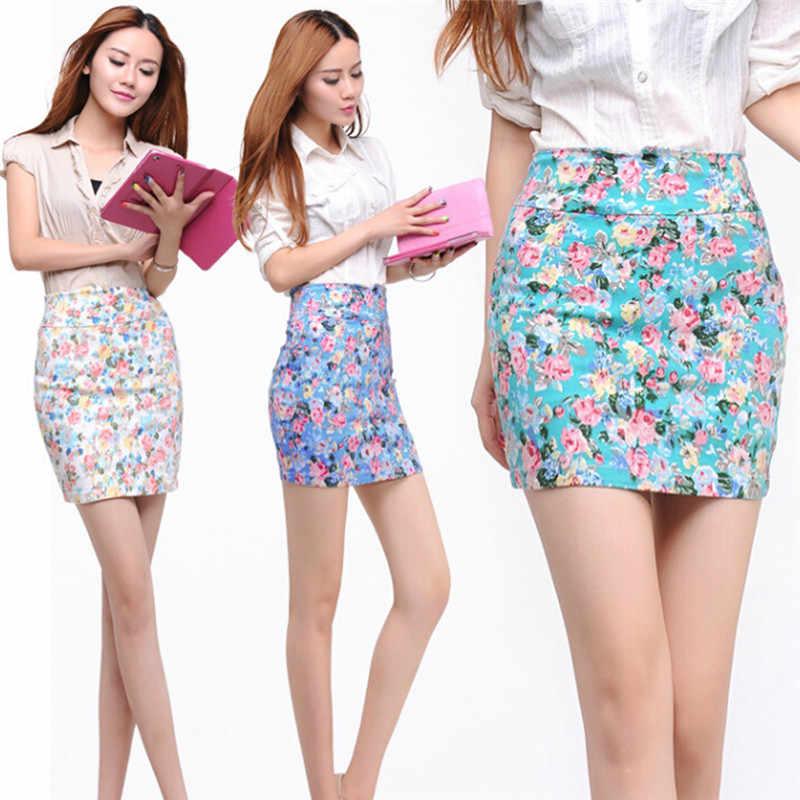 Весенне-летние короткие юбки с принтом для девочек, сексуальные, синие, красные, с высокой талией, офисные женские юбки с цветочным принтом