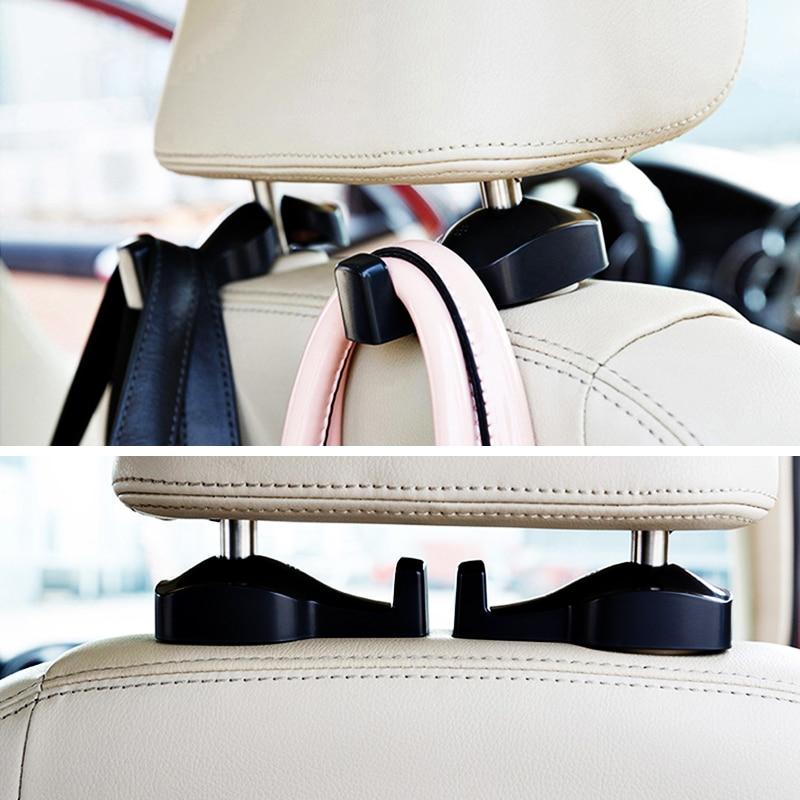 2pcs car headrest hanger hook organizer universal car back seat headrest hanger holder hooks for. Black Bedroom Furniture Sets. Home Design Ideas