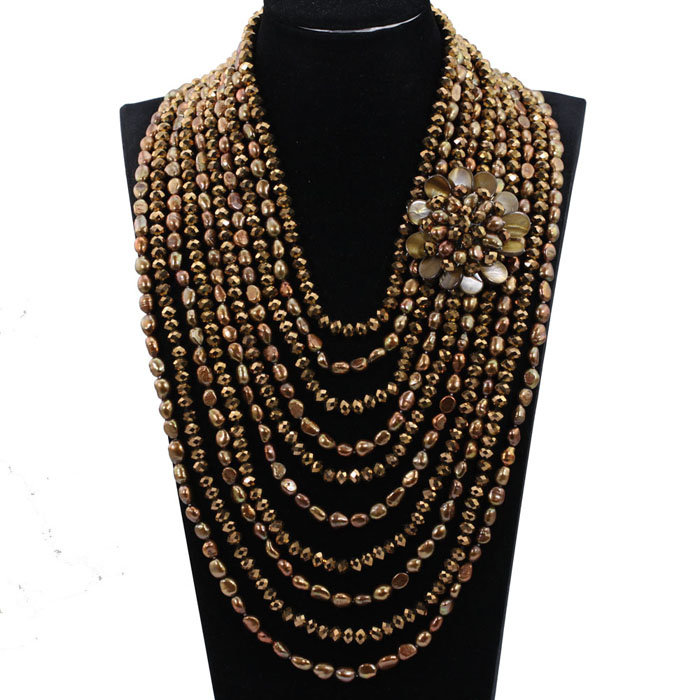 Exclusive Coffee Brown Baroque Pearls Wedding Jewelry 10 Strands Pearls and Crystal Bib Necklace Bridal Gift Free Shipping QW054 free shipping imitation pearls chain flatback resin material half pearls chain many styles to choose one roll per lot