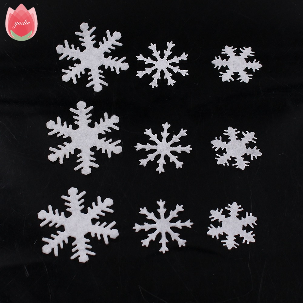 100pcs artificial flannelette white snow flowers winter