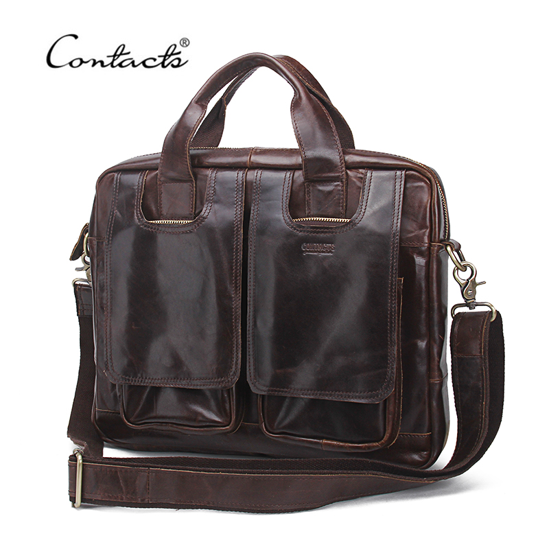 CONTACT'S 2017 New Genuine Leather Men Briefcase Man Bags Business Laptop Tote Bag Brand Design Shoulder Bag Men's Travel Bags