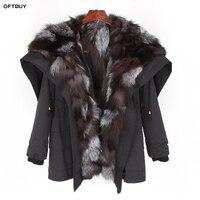 2019 Winter Jacket Women Real Fur Coat Natural Raccoon Fur Collar Hooded Rex Rabbit Fur Fox Fur Liner Loose Black Parka Fashion