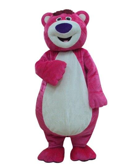 Costume de cosplay ours rose dessin animé mascotte Costume pour adultes méprisable pour les costumes de fête d'halloween