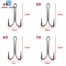 Easy Catch 20pcs 7982 Stainless Steel Double Fishing Hooks Big Strong Sharp Double Fishing Hook Size 4/0 5/0 6/0 7/0 8/0 9/0
