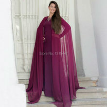 Robe De Soiree Puffy Purple Chiffon Long Arabic Kaftan A Line O Neck Long Sleeve Abaya in Dubai Chiffon Islamic Evening Dresses