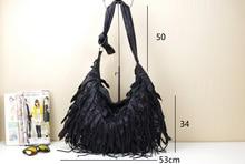 Free shipping Black genuine leather tassel bag one shoulder cross-body women's handbag sheepskin tassel women's handbag