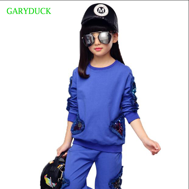 2017 Autumn Girls Clothing Set Sequined Long Sleeve Sports Suit For Girls Kids Clothes Sets Cotton Tracksuit for Girls Clothes 2017 new boys clothing set camouflage 3 9t boy sports suits kids clothes suit cotton boys tracksuit teenage costume long sleeve