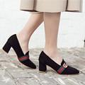 Bombas das mulheres Novas 2017 Sapatas da Mola das Mulheres sapatos de Salto Alto Calcanhar Grosso Sapatos de Plataforma de Moda de Nova Bombas Sapatos