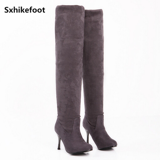 ФОТО Free Shipping Large size Woman shoes Autumn 2017 new European and American fashion suede boots fine with simple black gray 35-43