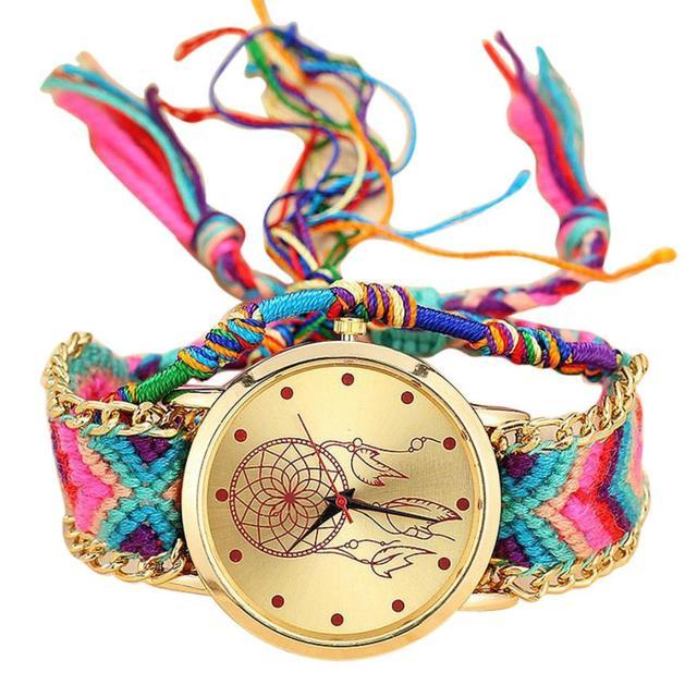 Vansvar Brand Handmade Braided Dreamcatcher Friendship Bracelet Watch Ladies Rop