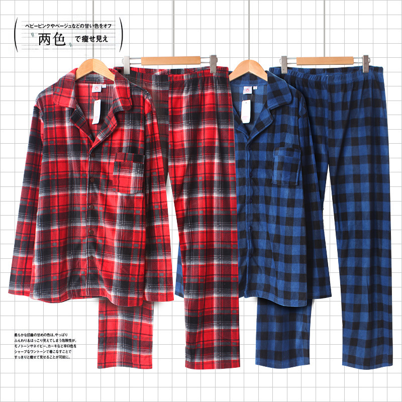 Winte Fleece Pajamas Male Lattice Thermal Leisurewear Two-piece Mens Sexy Pajamas Sleepwear Flannel Men Pajama Plaid Pijama Set