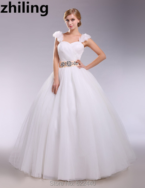 Flowers Straps Ball Gown Wedding Dresses Crystals Belt Bridal ...