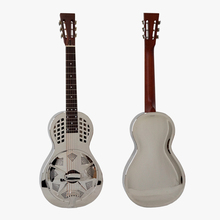 [Video Demo] Chrome Finish Brass Body  Parlour Resonator Guitar  61 Free Case  TRG-10N