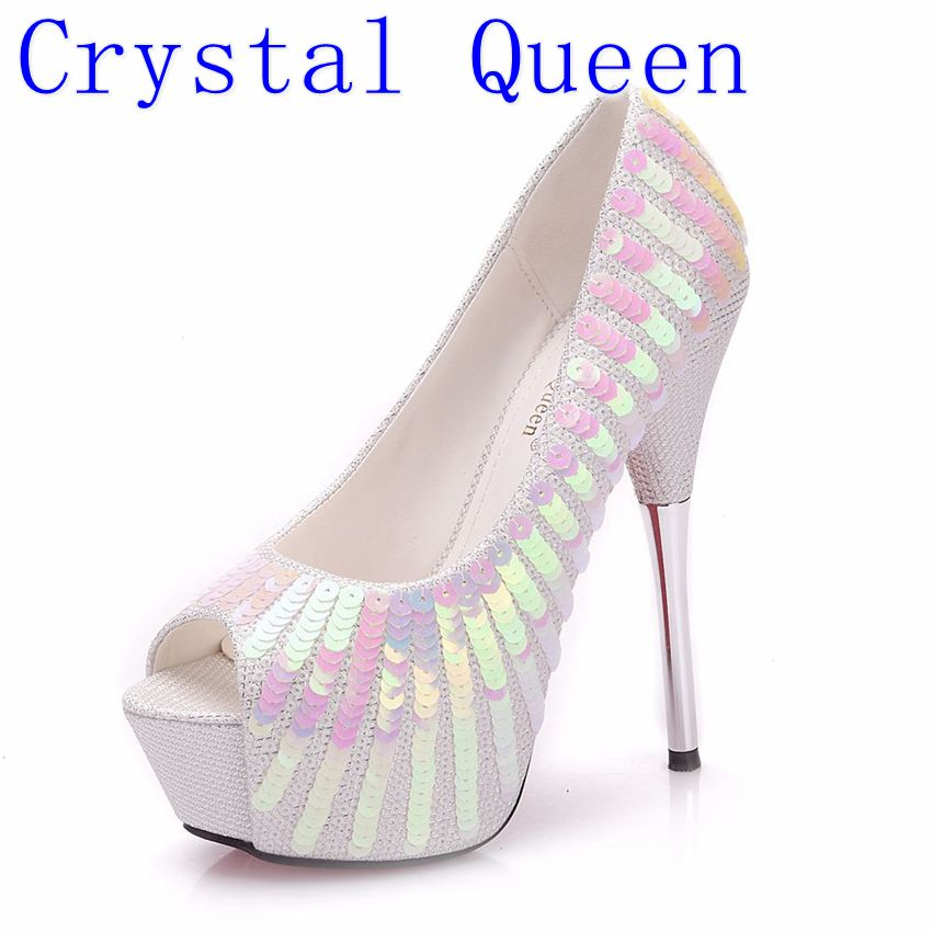 Crystal Queen Women Pumps Extrem Sexy High Heels Women Shoes Thin Heels Female Shoes Wedding Shoes Sliver White Ladies Shoes new arrivals women s pumps summer sexy thin high heels pumps white platform wedding shoes for women plus size ladies shoes