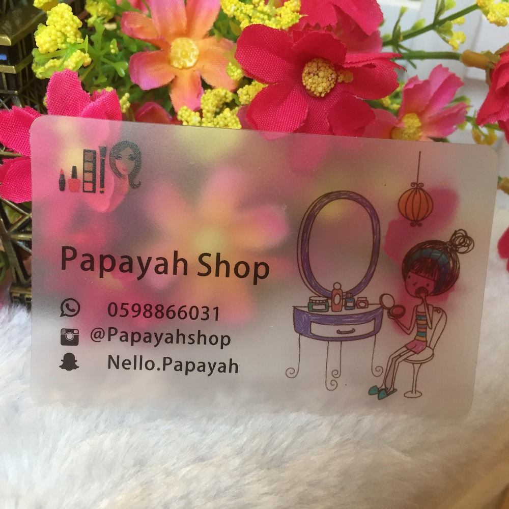 Fashion PVC card Free design custom transparent business cards clear frost card visit name cards printing