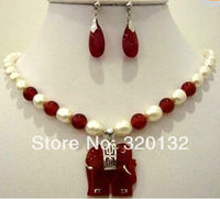 Fashion White pearl red Natural stone elephant pendant necklace earring 2017 Jewellery sets free shipping (A0