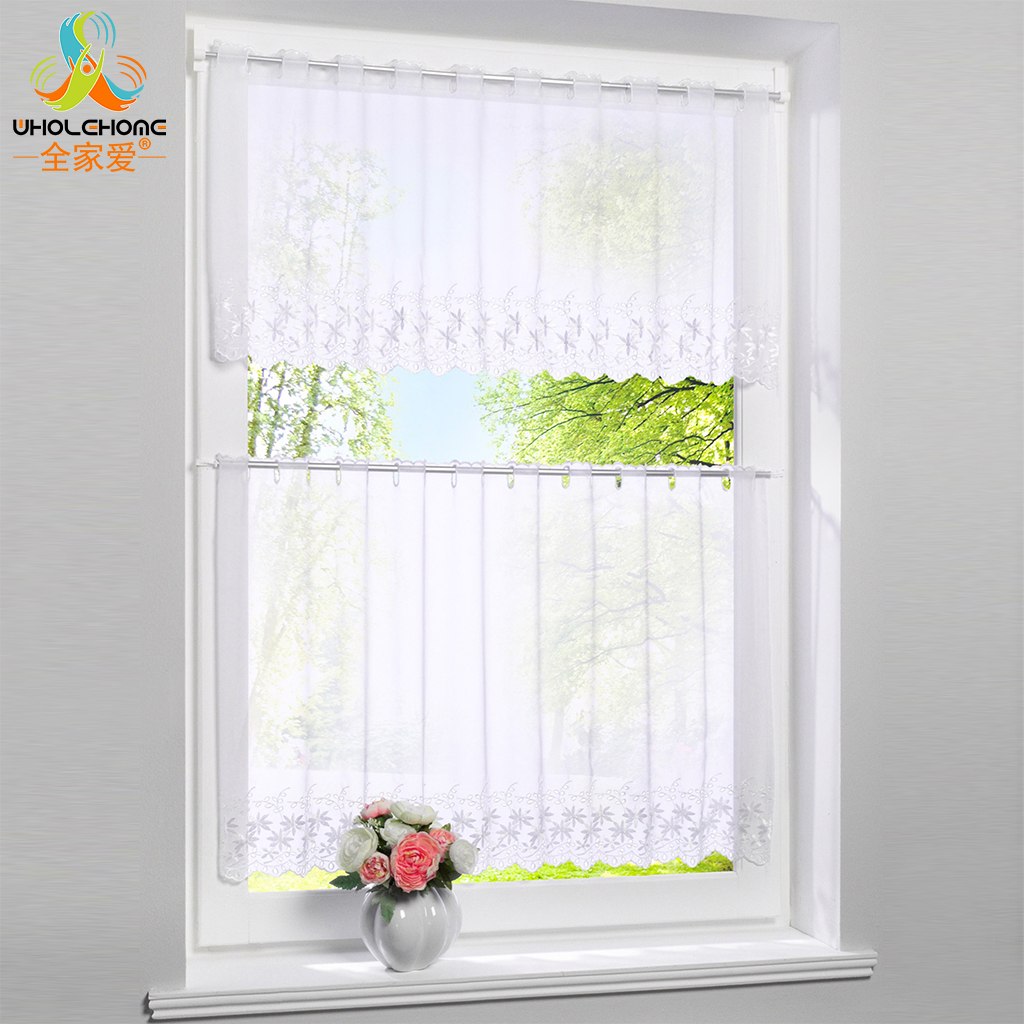 Permalink to Window Treatments Cafe Curtain Viole Tulle Hole White Polyester Pastoral Pleated Floral Decoration Kitchen Living Room 1 PCS