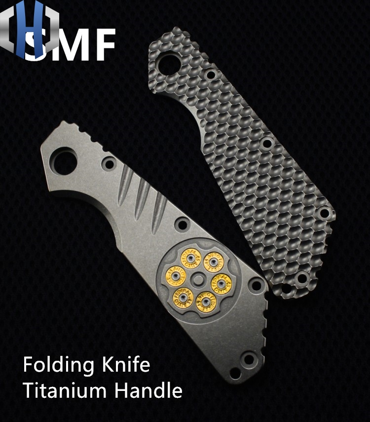 SMF couteau pliant poignée en titane outils d'extérieur couteau EDC outils SMF alliage de titane couteau poignée Patch