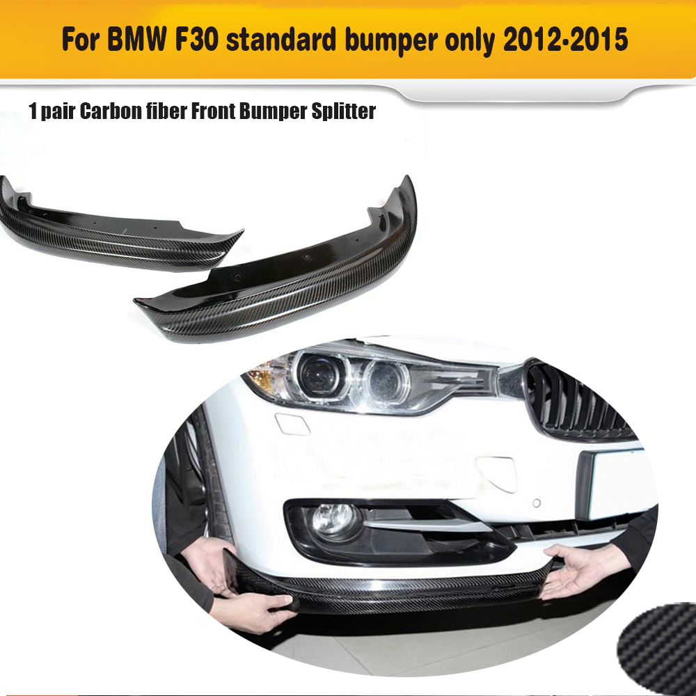 3 Series carbon fiber front bumper lip splitters for BMW F30 Standard Sedan 4 Door 2012 - 2015 Non M Sport 320i 328i 335i 1 Pair