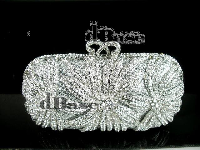 #1518 Crystal Flower Floral Lily Bridal Party Silver hollow Metal Evening purse clutch bag handbag