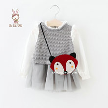 Two pieces dress+bag Long Sleeve Girl dress baby Girls Clothes fox bag Dress Kids Girl dress baby 2-7 Years Kids clothing