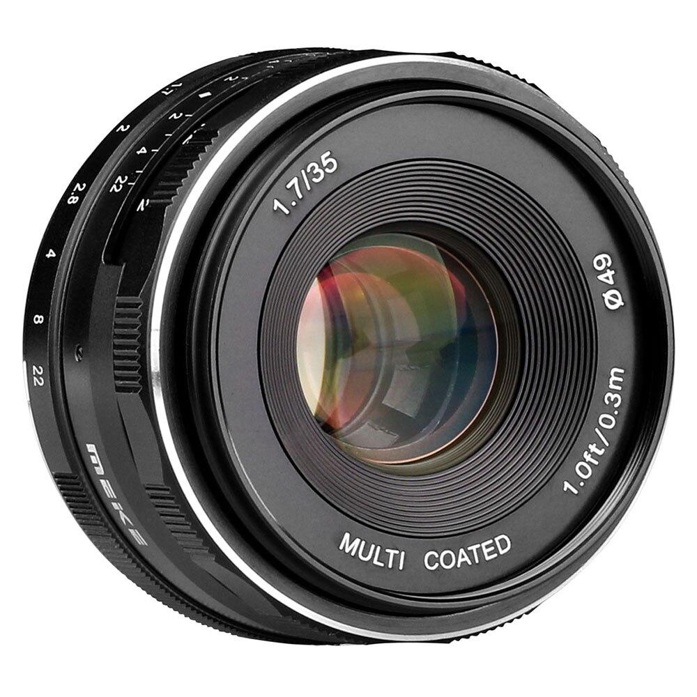 Meike MK-35-1.7 35mm F1.7 lente de enfoque Manual APS-C para Canon o para Sony o para Fuji o por 4/3 montaje de las cámaras sin espejo