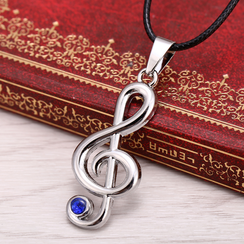 HSIC Hot Christmas Gifts Treble G Clef Music Note Pendant Necklace Jewelry Teens Pendant Rope Chain For Fans Cosplay image