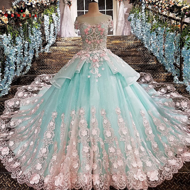 QUEEN BRIDAL Luxury Evening Dresses Ball Gown Appliques 3D Flowers Long Formal Evening Gowns Prom Dress 2020 Robe De Soiree BY14