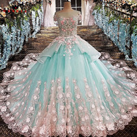 QUEEN BRIDAL Luxury Evening Dresses Ball Gown Appliques 3D Flowers Long Formal Evening Gowns Prom Dress 2018 Robe De Soiree BY14