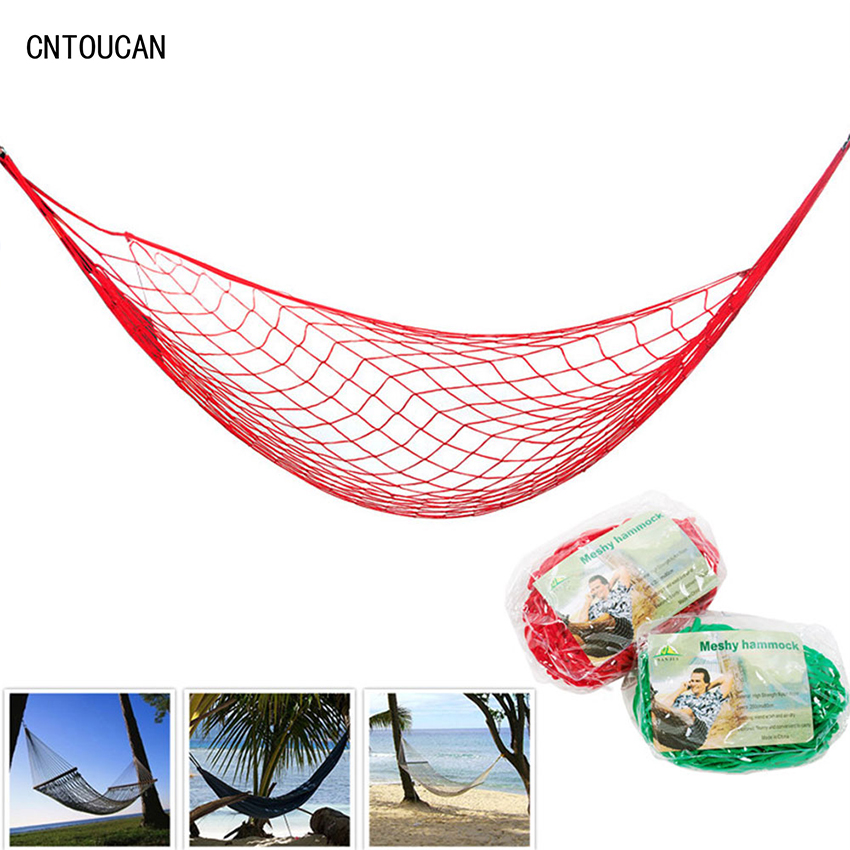 high quality nylon rope mesh hammock 5 colors portable outdoor garden hammock hang bed travel. Black Bedroom Furniture Sets. Home Design Ideas