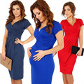 Maternity Elegant V-neck Short Sleeve Knee-length Casual Dress Bodycon High Elastic Women Pregnancy Clothes Vestidos