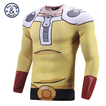 Men Cartoon 3D T shirts Long Sleeve Quick Dry Compression T shirt Saitama-ken One-Punch Man Bodybuilding Tight Tops