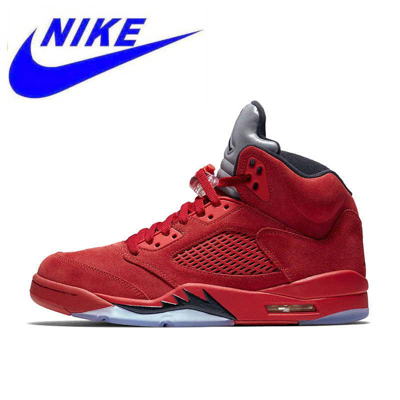 792b140abd6e5 New Arrival Official Nike Air Jordan 5 red Suede AJ5 Men s Breathable  Basketball Shoes Sports Sneakers