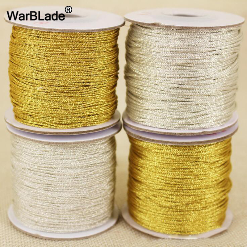 High Quality 88m 0.8mm 1mm Gold and Silver Cord Nylon Cord Plastic Thread String Rope Bead DIY Braided Bracelet Necklace Making 100yards spool 1mm waxed cotton cord thread cord plastic string strap diy rope bead necklace european bracelet ma