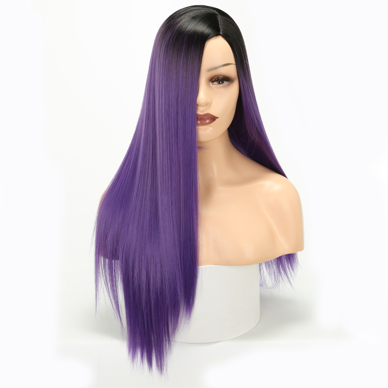Synthetic Wigs Straight-Wigs Lisi-Hair Chemical-Fiber Green-Wig-Long Black Purple Ombre