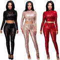 Fashion 2 Piece Set Sequin Jumpsuit 2017 New Style Sexy See Through Mesh Crop Tops + Pants Set Women Party Night Club Jumpsuits