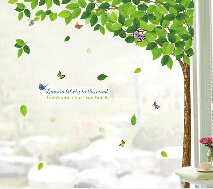 Factory price the green leaves art big tree wall stickers for Butterfly garden mural