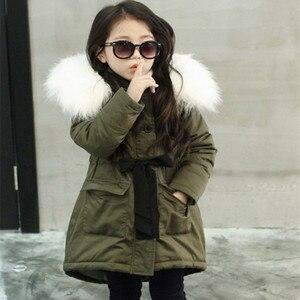Image 1 - Зимние куртки для девочек, детское модное пальто с воротником из искусственного меха, детская зимняя теплая верхняя одежда, пальто, одежда для девочек