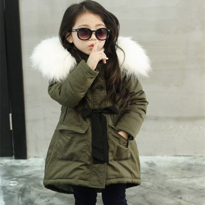 Girls Winter Jackets Kids Fashion Faux Fur Collar Coat Children Winter Warm Outerwear Coat Girls Clothes 4 5 6 7 8 9 10 11 Years цена 2017