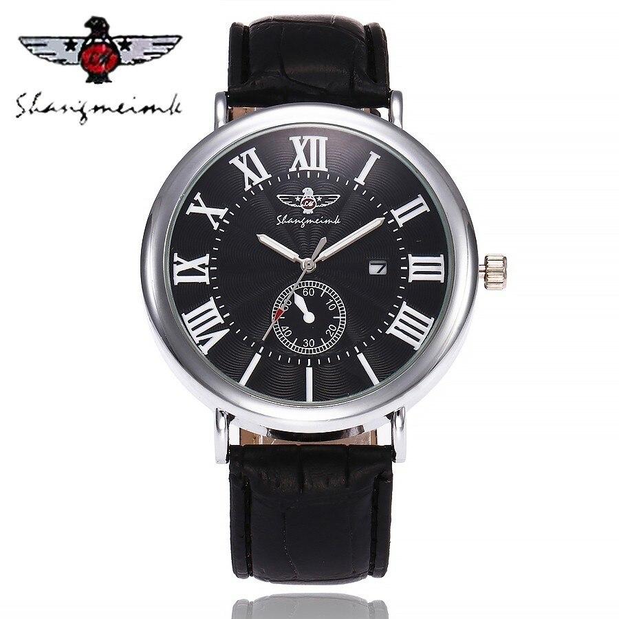 Marque de luxe SHANGMEIMK Montre Mode Hommes D'affaires Horloge Quartz Bracelet En Cuir Hommes Montres Relogio Masculino Vente Chaude