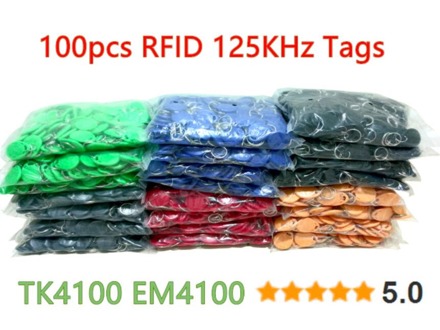 8 Colours 100pcs/Lot 125Khz RFID Tag Proximity Key Fobs Ring Access Control Card for Access Control Time Attendance diysecur 50pcs lot 125khz rfid card key fobs door key for access control system rfid reader use red